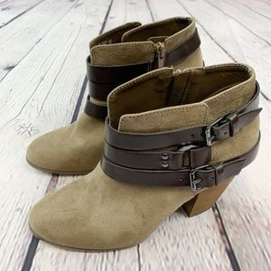 Carlos by Carlos Santana Taupe Ankle Heel Boots